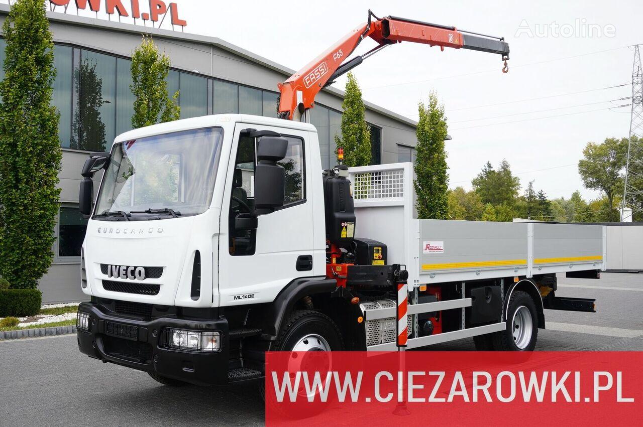 IVECO Eurocargo 140E 19K , E6 , 4x2 , 70k km , box 5,5m Crane Fassi F6 flatbed truck