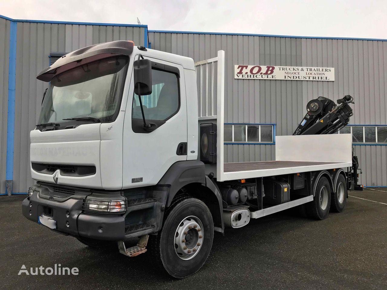 RENAULT KERAX 370 6X4 2005 PLATEAU GRUE HIAB 166 DS4 DUO 12M30 RADIOCOMM flatbed truck